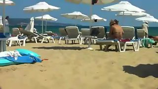 Topless filmed on the local beach