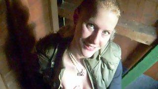 German blondie deep throat in a barn