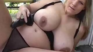 Chubby gal with huge tits plays with a hook-up fucktoy