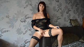 Gorgeous dark-haired plays with her vulva part i