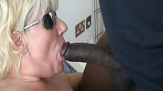 Mature hoe wife fucked by first big black cock and facialized cuckold blacking