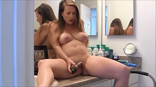 Mature pregnant wife plays with her sextoy