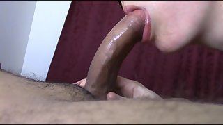 Cute hooded damsel gives a great blowjob and gulps