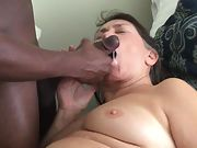 Cum crazy granny luvs being fed hot mouth-watering cum from a black man sausage