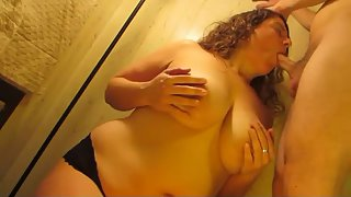 All natural big titty amateur palm tit and blow job with cum load