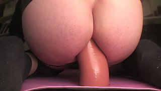 Booty butt filled with meaty dildo stretching rectum wide apart