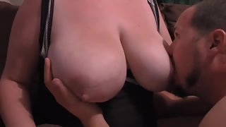 Me sucking on my wifes gigantic tits they are a handful