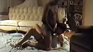 White chick with ebony masculine arranged interracial home breeding session