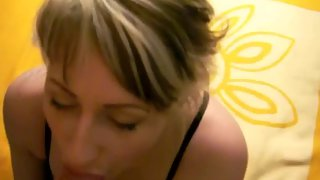 Blonde wife in lingerie blowing man-meat and getting boned in pov, then taking cumshot on tits