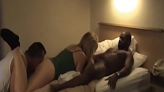 White wife licked neat after breeding with dark-hued bull shaft