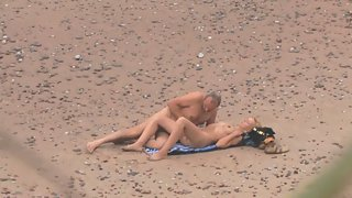 Mature couple public sex on beach caught on voyeur camera lens