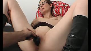 Counterpart using a dark-hued dildo on my raw slimy cunt