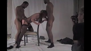 Milf breeding with two humungous ebony cocks filling her holes up thick and deep