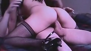 Asian trophy wifey pampers sexy draped husband