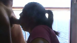 Chubby wife on cruise ship deep throating off a strung up passenger
