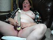 58yr senior gilf wifey milks with hitachi hitachi to cum highly loudly