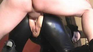Slut in spandex attire gets anus plowed from behind