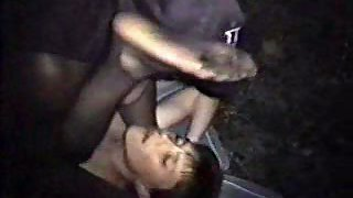 Cheating wife outside having sex with a dark-hued male