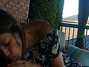 Super hot latina neighbour fellating and swallowing