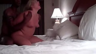 Blonde cougar wife gets her pussy plowed hard by bbc black bull orgy
